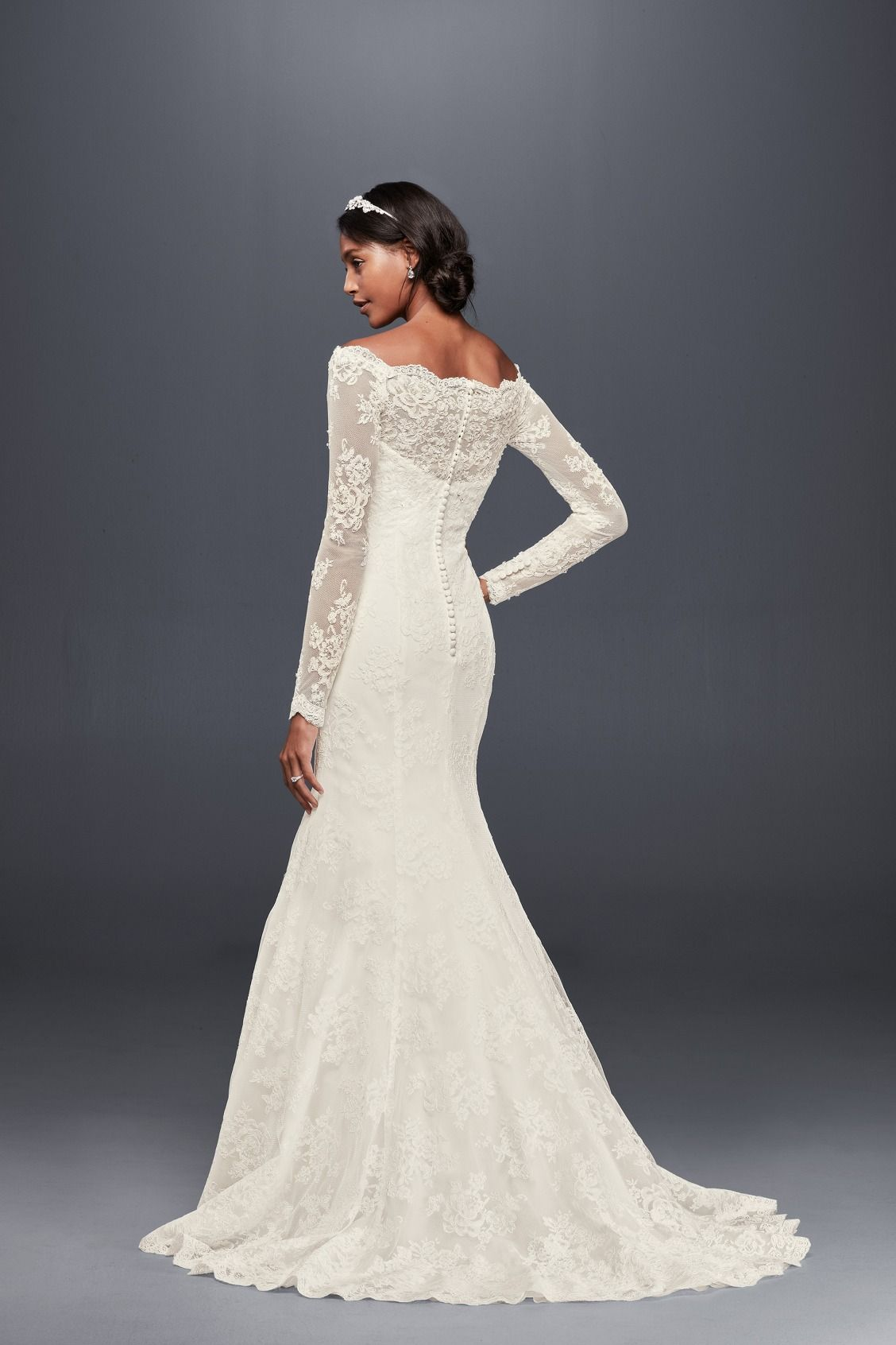 Off the shoulder scalloped long sleeve lace mermaid jewel for Long sleeve casual wedding dresses