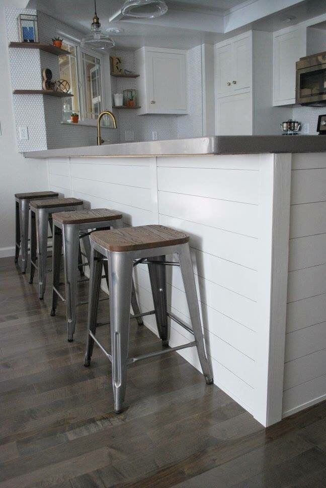 Shiplap siding wrapping the kitchen island. Stools are from target ...
