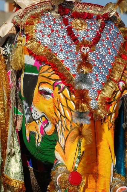 """""""Jaipur's Elephant Festival: One Jumbo Sized Beauty Pageant!"""" -- Click through for a dozen photos of this festival where elephants are decorated stem to stern, as it were..."""