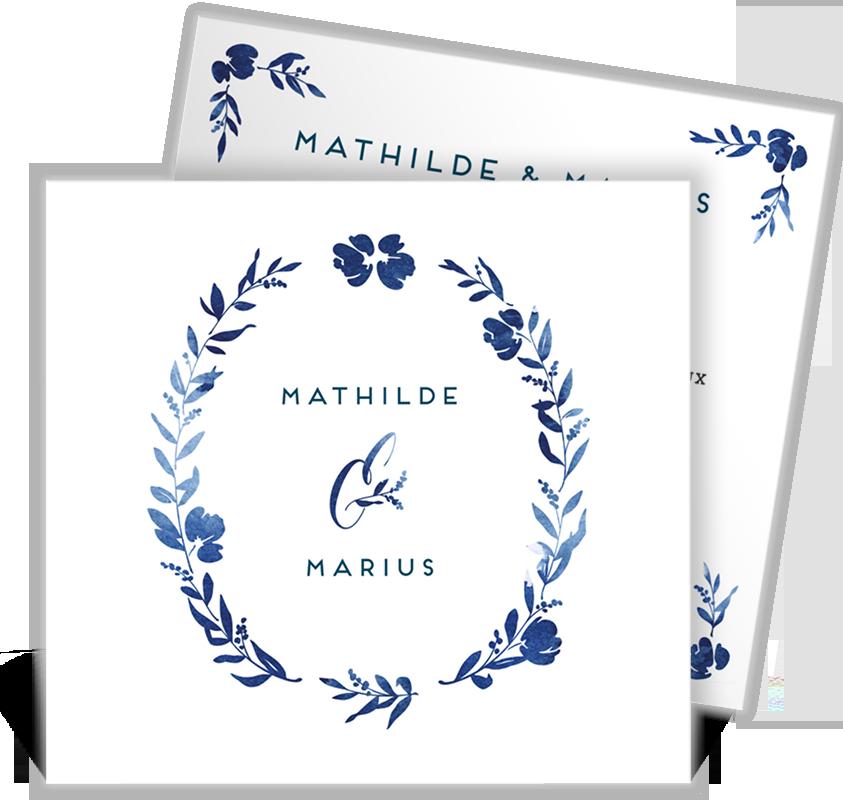 Faire part mariage carré romantique avec ses fleurs en aquarelle couleur bleu qui charmeront votre famille et vos amis, ref N311191