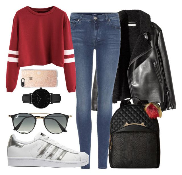 """""""Tonight"""" by betty220285 ❤ liked on Polyvore featuring 7 For All Mankind, adidas Originals, Betsey Johnson, Ray-Ban, Casetify and CLUSE"""