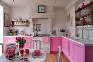 all pink cabinets...plus this site has lots of great painted cabinet color ideas. Little Blue Chairs: More Painted Cabinets