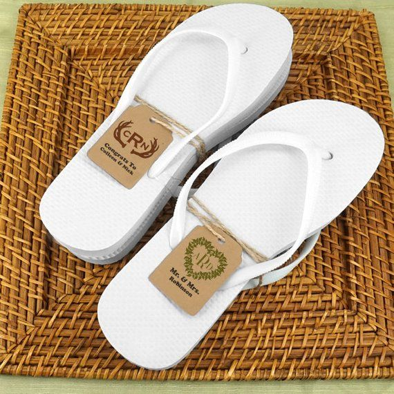 62a8c8ea4 Wedding White Flip Flops set with Kraft Monogram Tag - Set of 6, Includes  Assorted Sizes