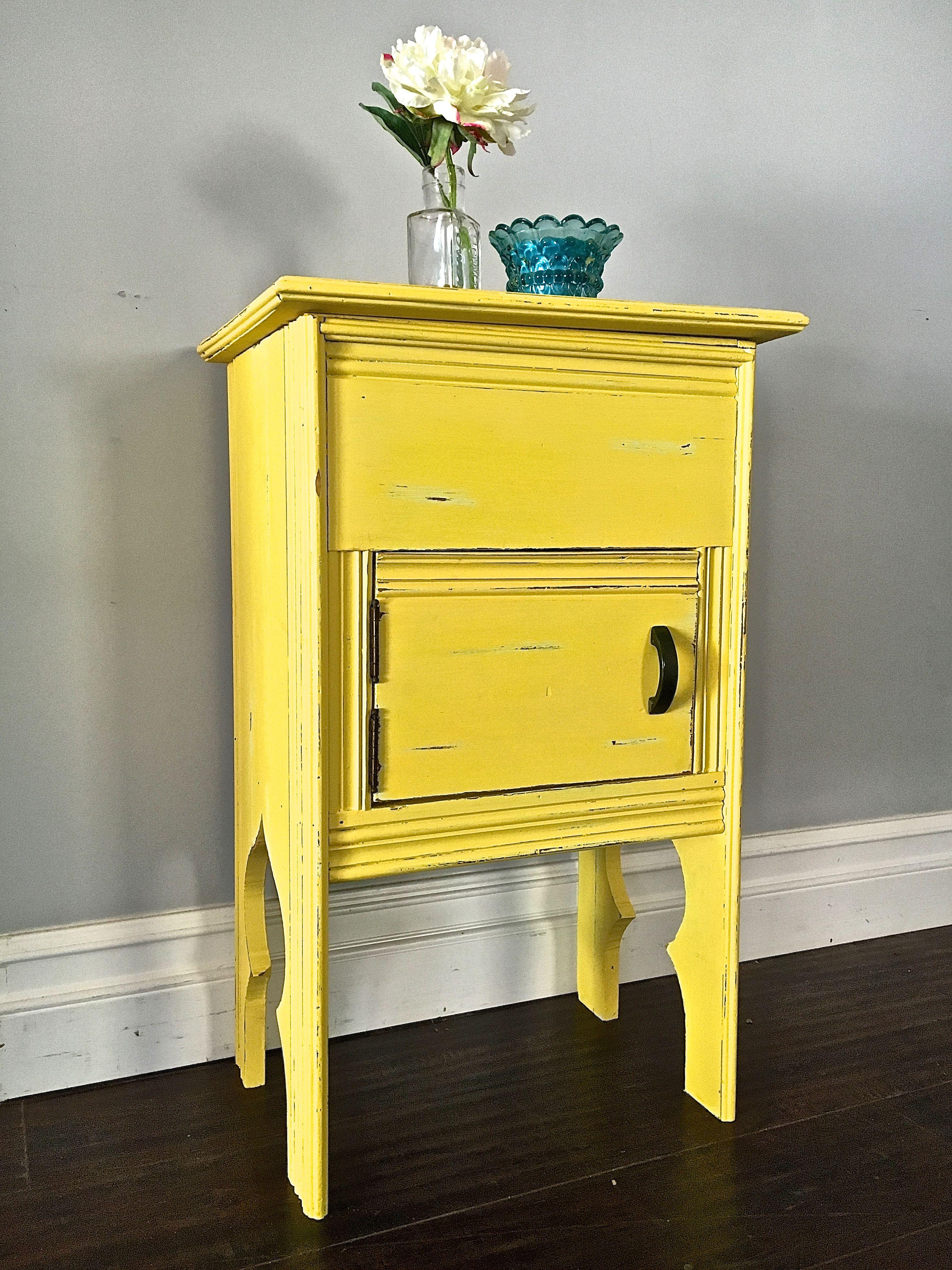 - Shabby Chic Yellow Accent Table - Custom Order For Araceli