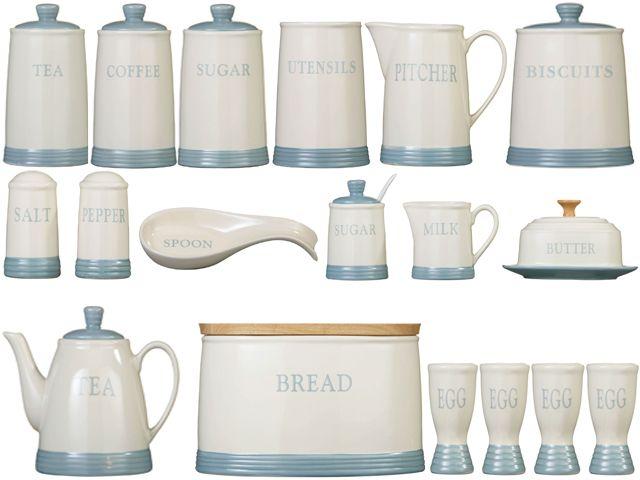 Azure Blue Kitchen Stoneware Storage Canisters Jars Set Tea Coffee Sugar Bread Ebay