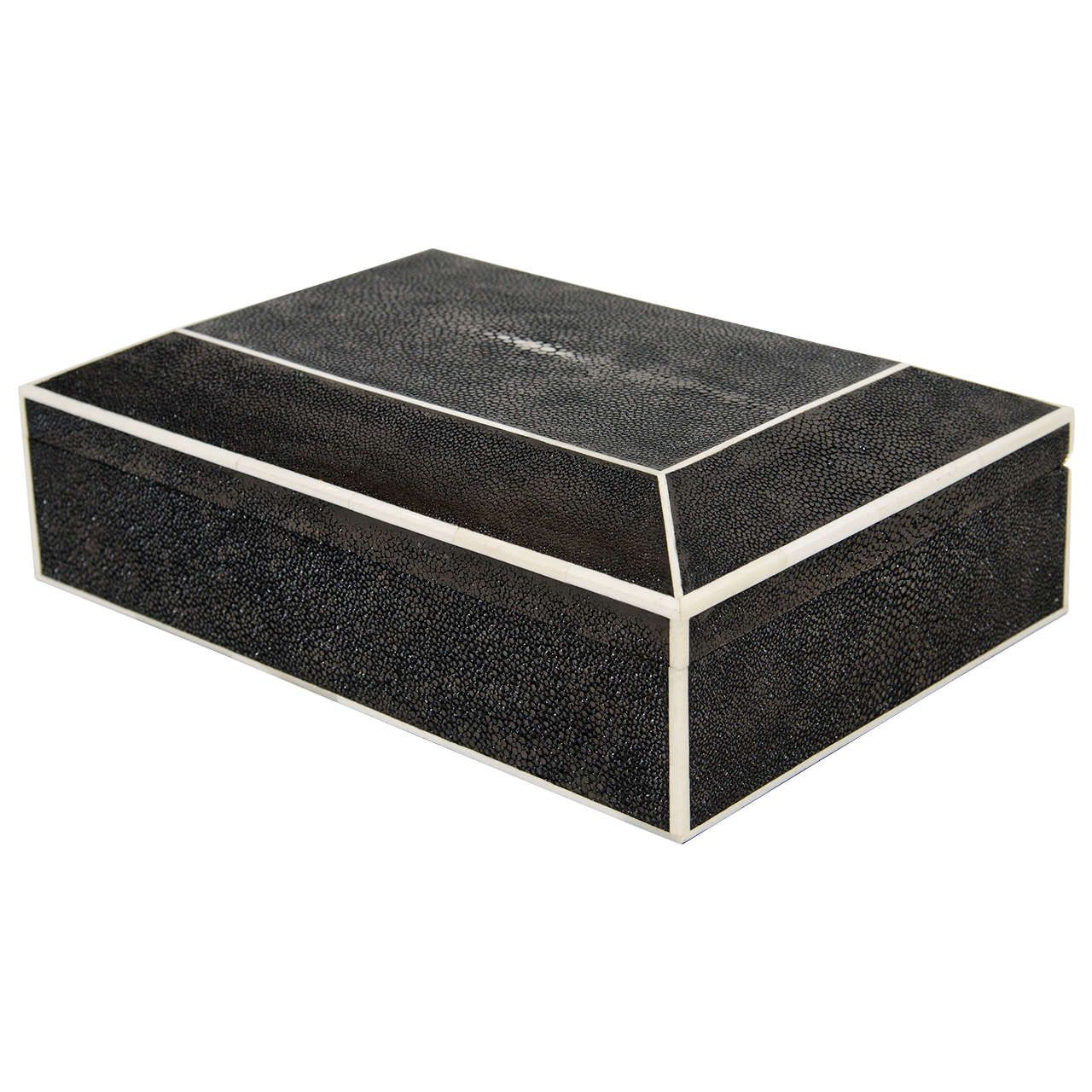 exotic black stingray box with white bone inlay  decorative  - black shagreen box with white bone trim  from a unique collection ofantique and modern