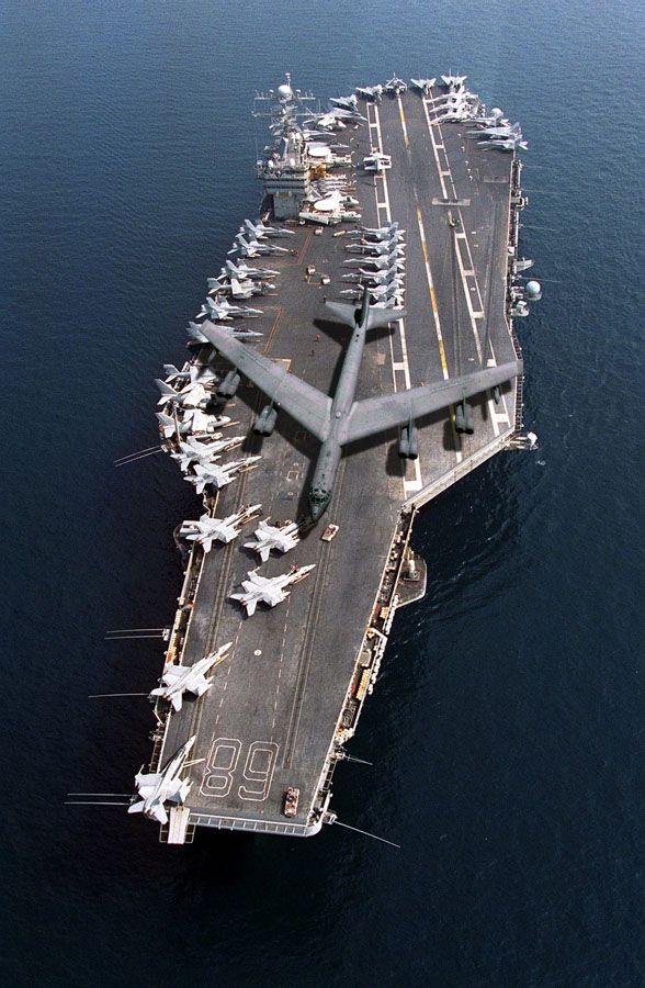 Looks like a 'Big Bird' sitting on a canoe...:D  B-52 ready to launch on USS Nimitz (CVN-68).