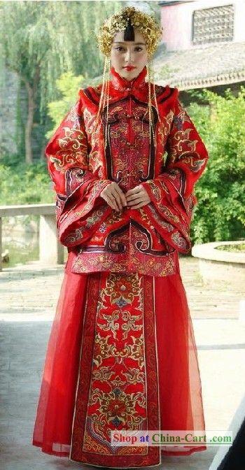 Traditional Chinese Mandarin Red Wedding Dress