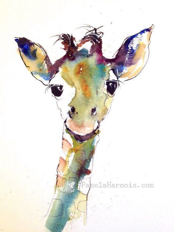 Giraffe Art Watercolor Art Print Animal Kingdom Wall Decor