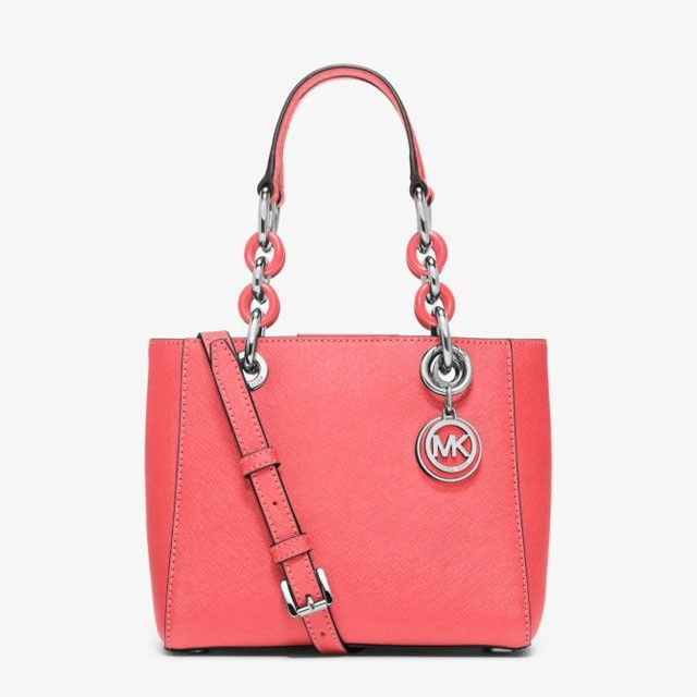 MICHAEL Michael Kors Cynthia Extra-Small Saffiano Leather Satchel Pink fd337be9768