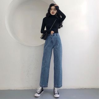 Pinatra Plain Wide-Leg Jeans / Plaid Blazer / Long