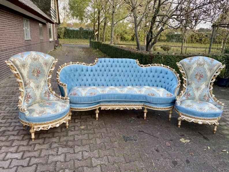 Vintage French Furniture French Chair 5 Piece Set Vintage Etsy Vintage French Furniture French Chairs Tufted Furniture