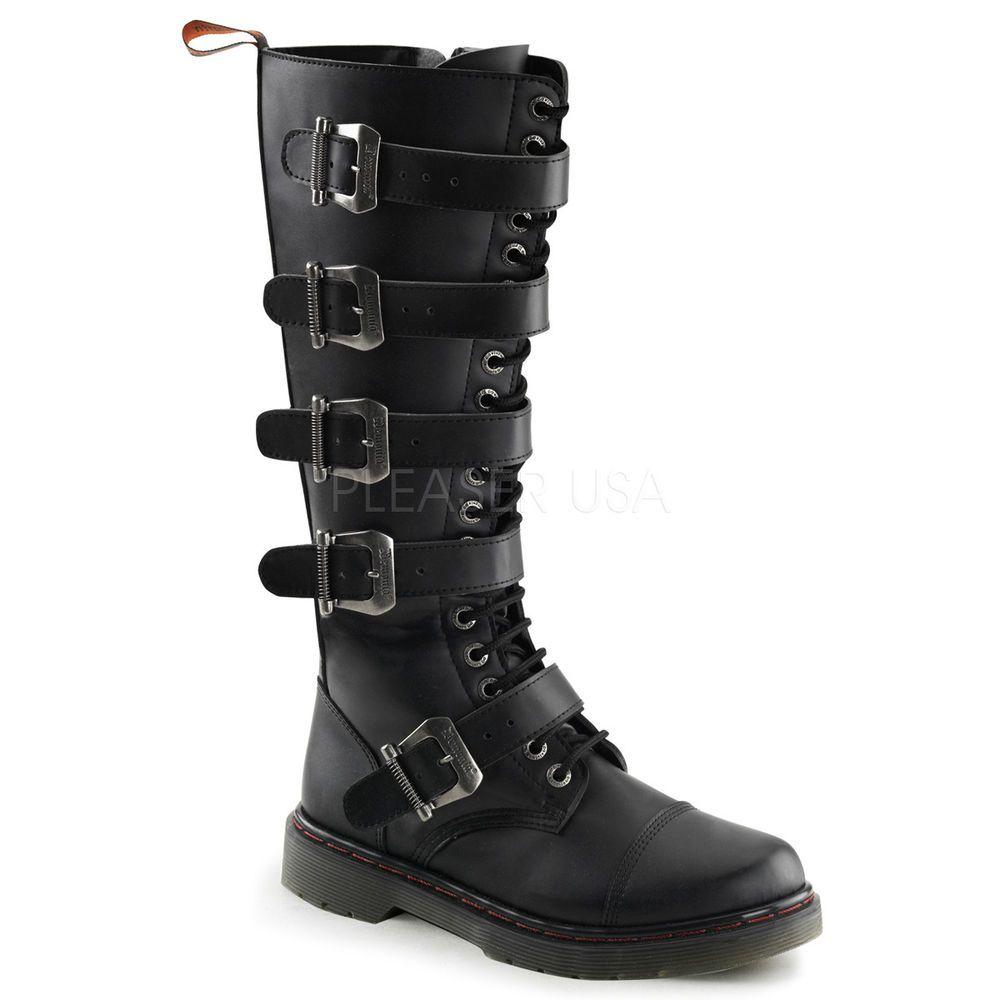 cdc3e2db960 Demonia Black Metal Plates Buckle Tall Steel Toe Combat Boots