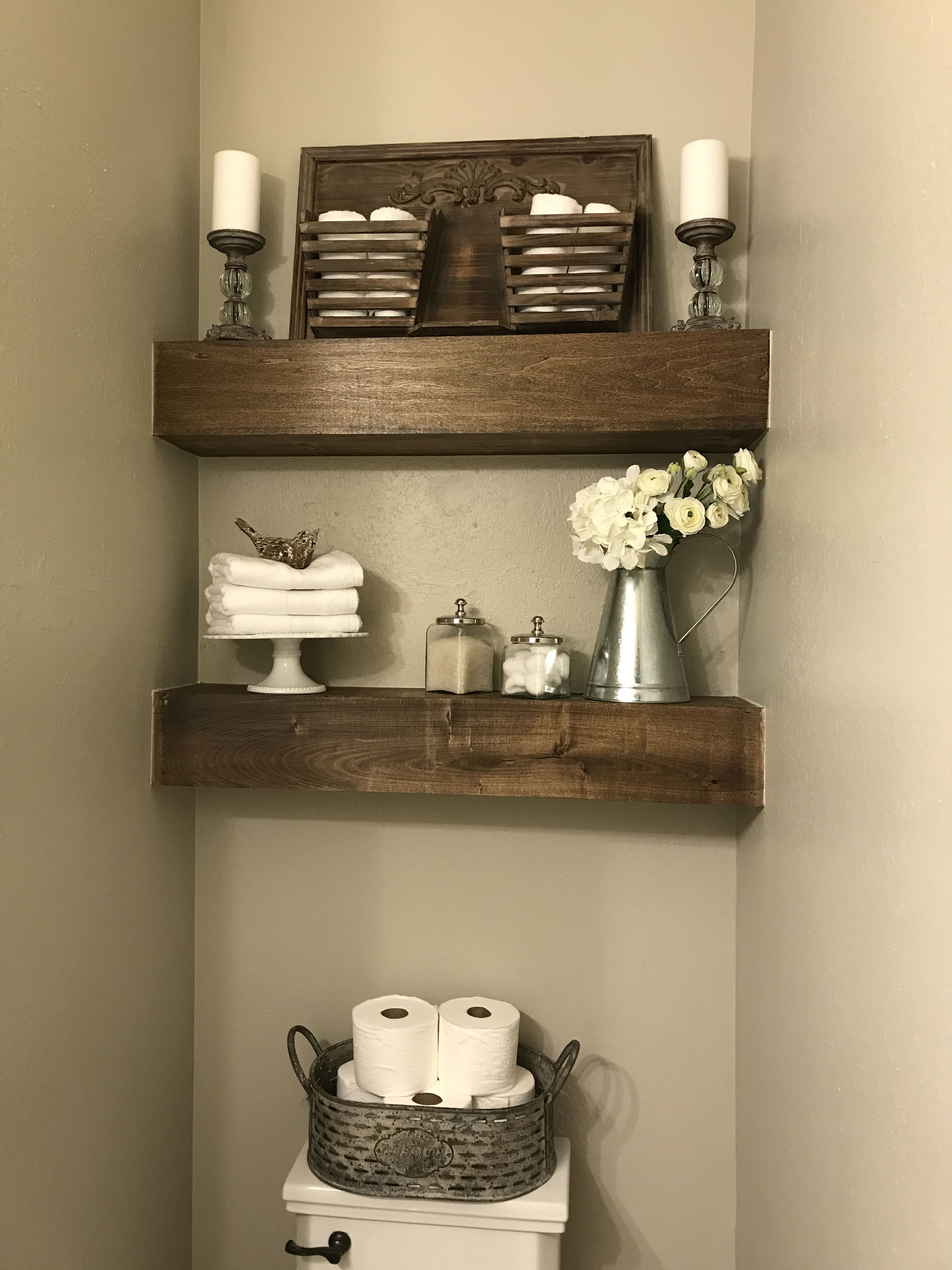 Open Shelves In Powder Room Installed And Decorated By Christie Brown Farmhouse Bathroom Decor Home Decor Bathroom Decor
