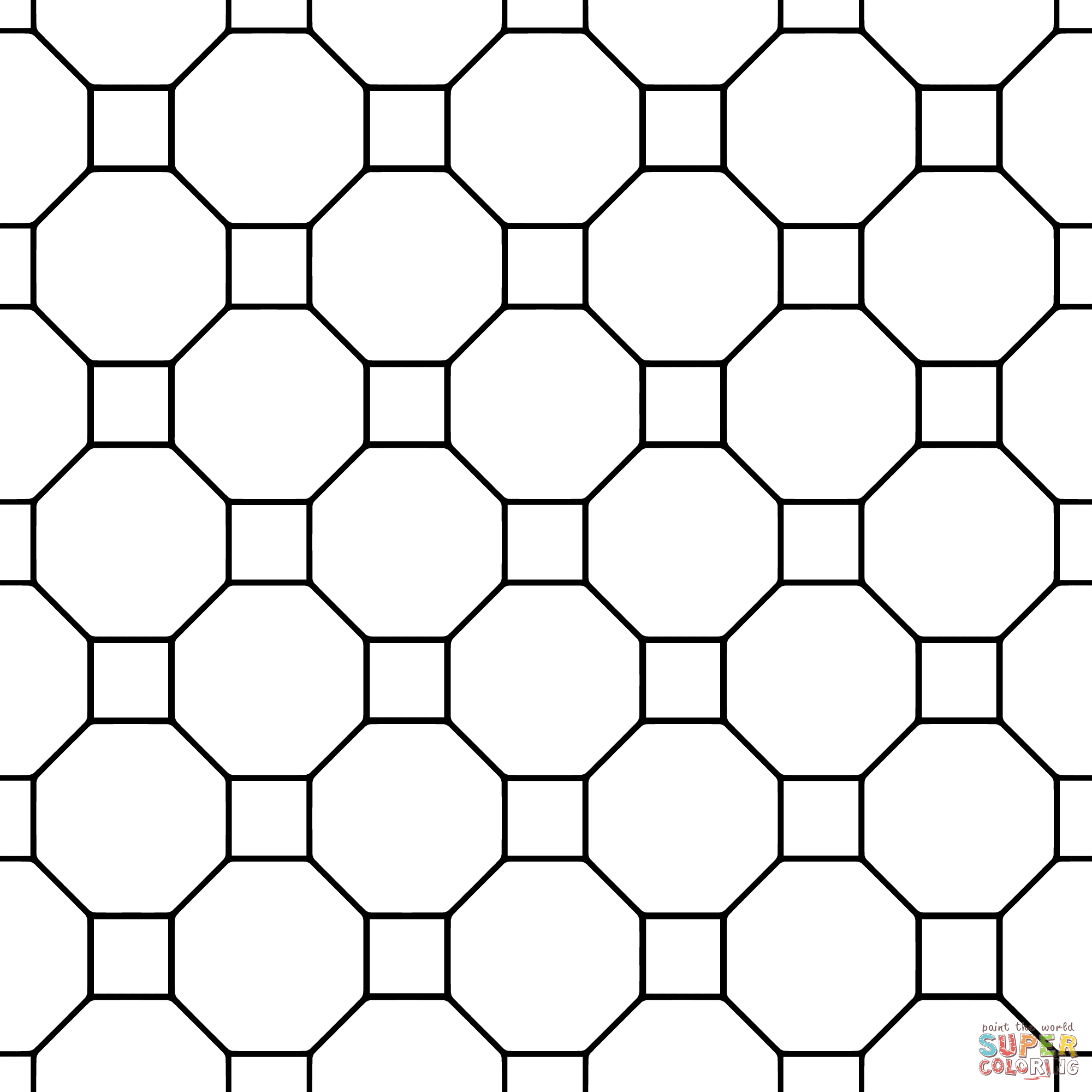 tessellation with octagon and square super coloring coloring