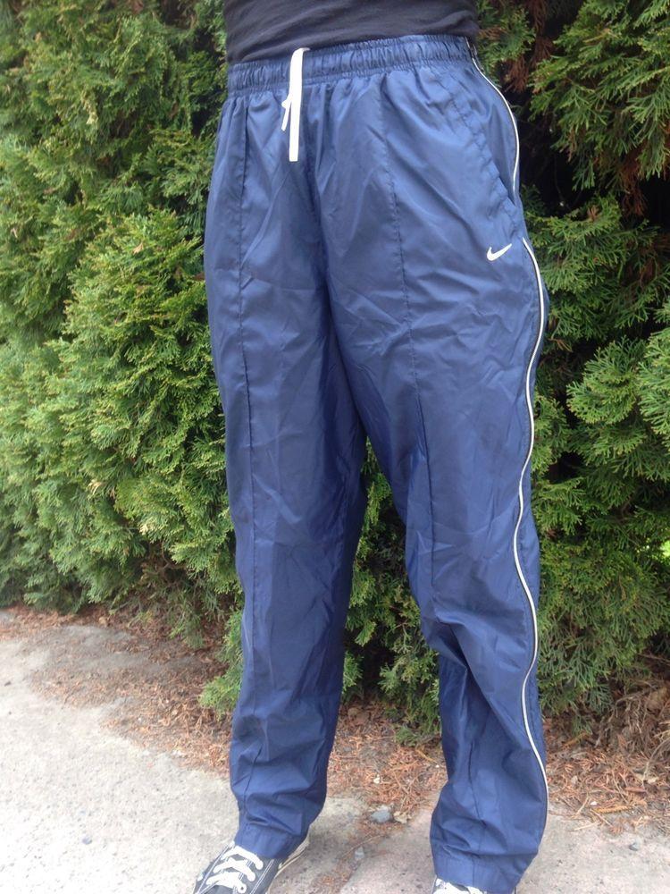 NIKE Blue Nylon Wind Pants Full Side Zip Zip Off Juniors Womens M Medium  8-10  Nike  PantsTightsLeggings 17309ac878
