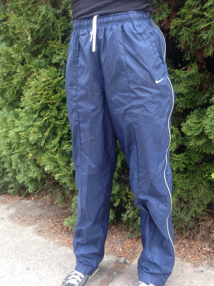 NIKE Blue Nylon Wind Pants Full Side Zip Zip Off Juniors