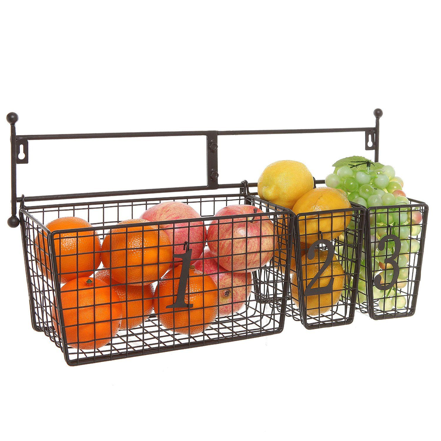 kitchen baskets storage wall mounted black metal wire mesh numbered 2294