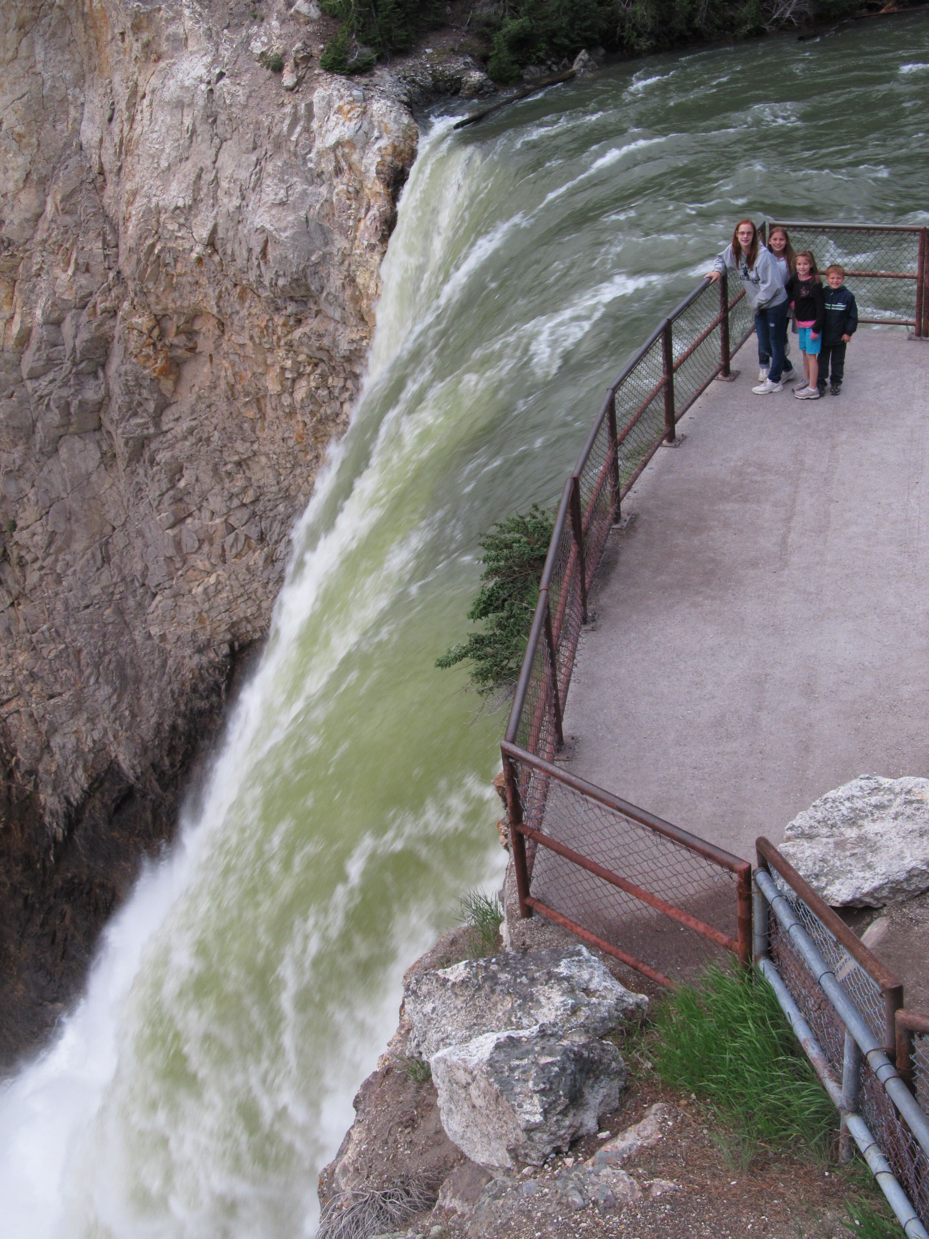 waterfalls of yellowstone with kids