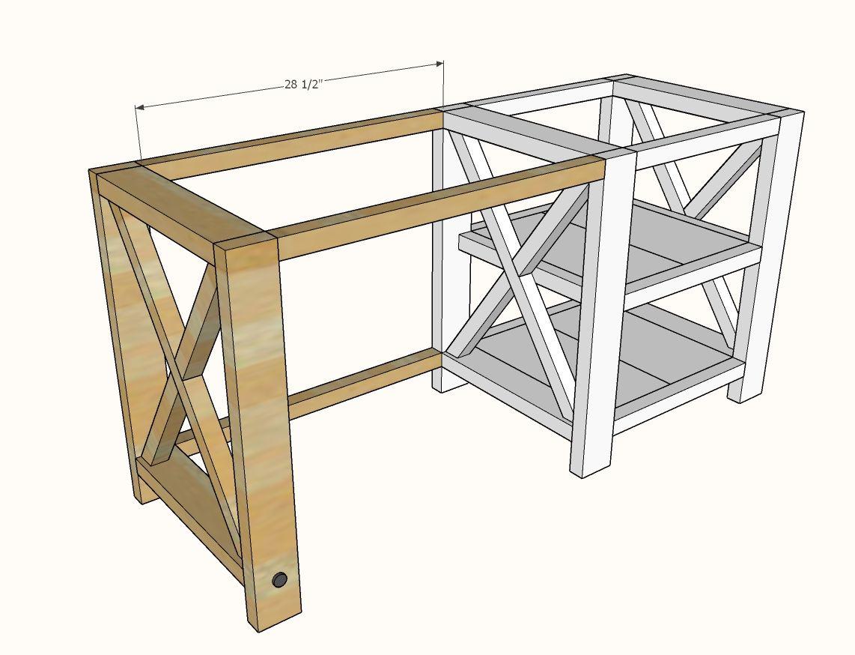 Rustic X Desk In 2020 Diy Wood Desk Rustic Computer Desk Diy Desk Plans