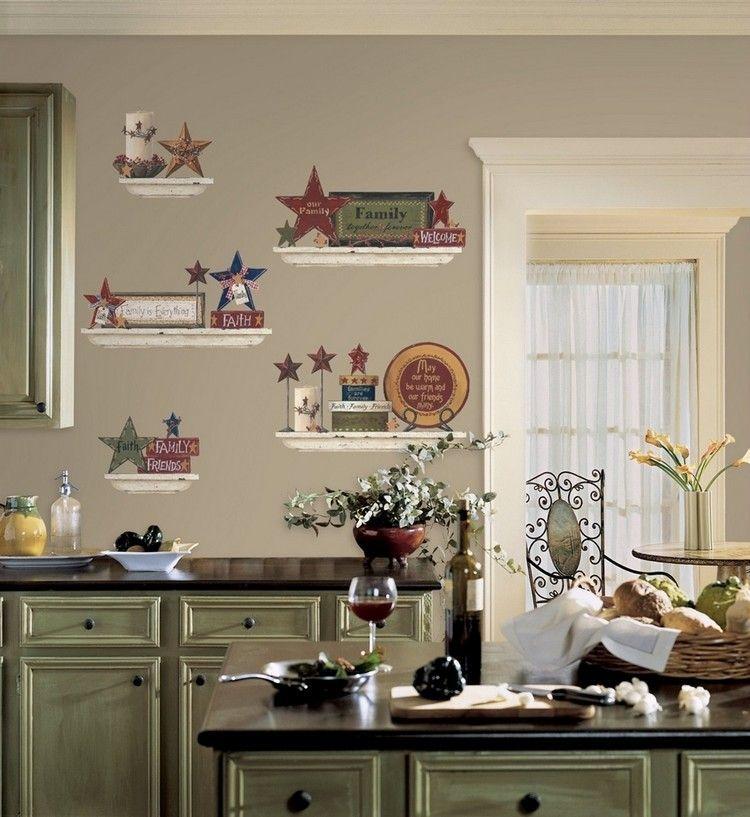 Idee-Deco-Cuisine-Peinture-Grise-Dessins-Meubles-Bois-Vert-Pale