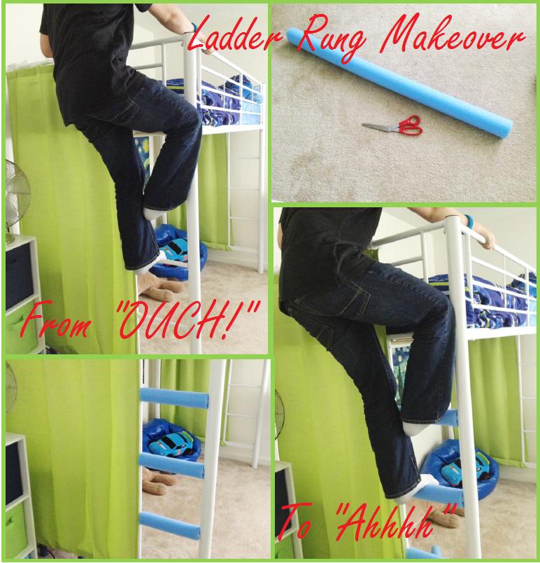 DIY Loft Bed Ladder Rung Cushions Diy loft bed, Loft bed