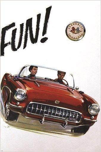 """Old Chevrolet Corvette Poster 24/"""" x 36/"""""""