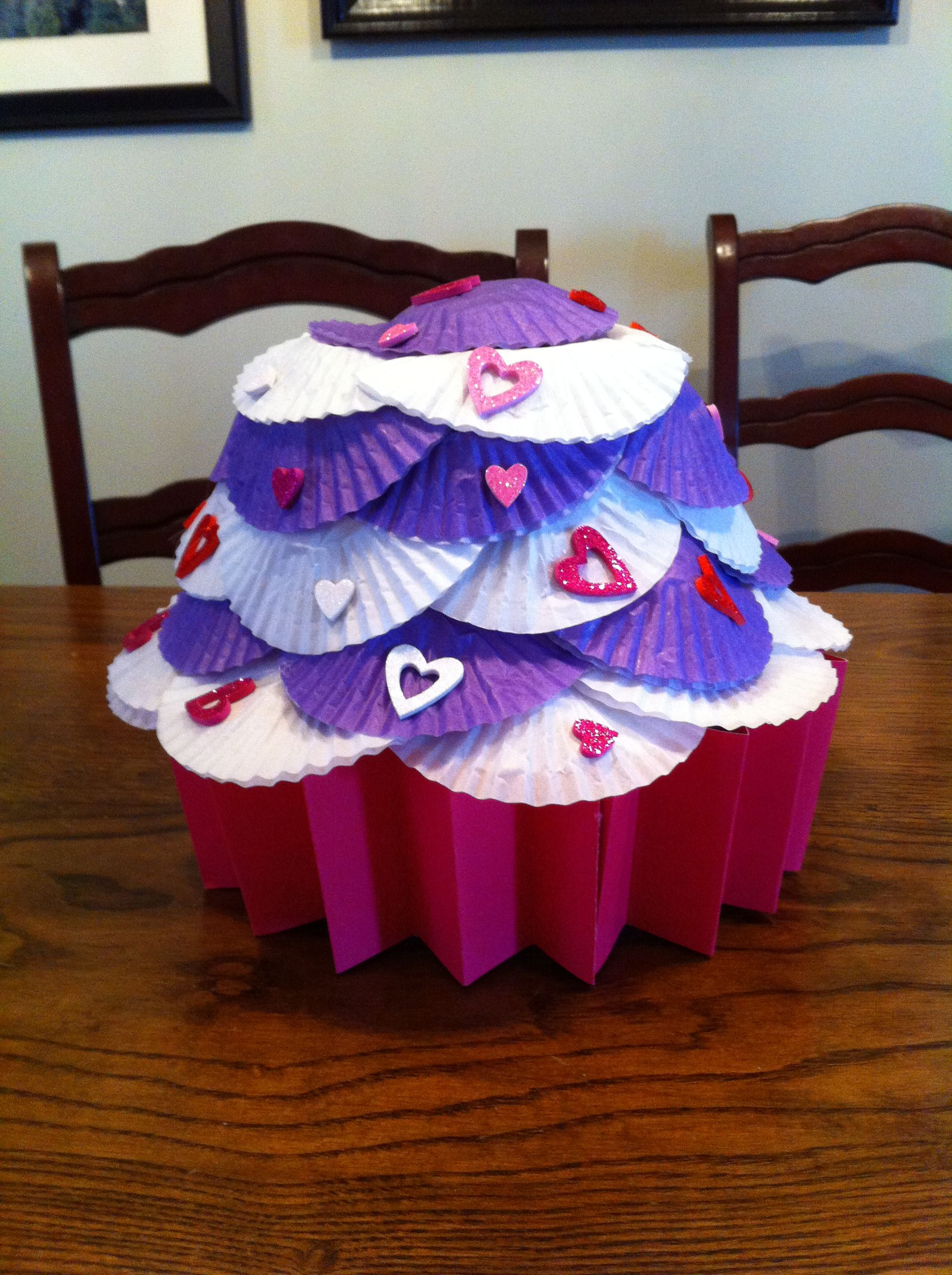 cupcake valentine box made from blue bunny ice cream containerbottom cupcake - Cupcake Valentine Box