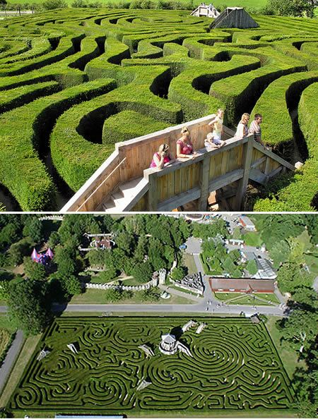 Longleat Hedge Maze (UK)- Longleat's classically beautiful 16,000 yew trees form a hedge maze in the U.K. that covers 1.48 acres and nearly 2 miles of paths. The wooden bridges built into the massive puzzle reveal an unusual feature: Longleat is a three-dimensional maze.