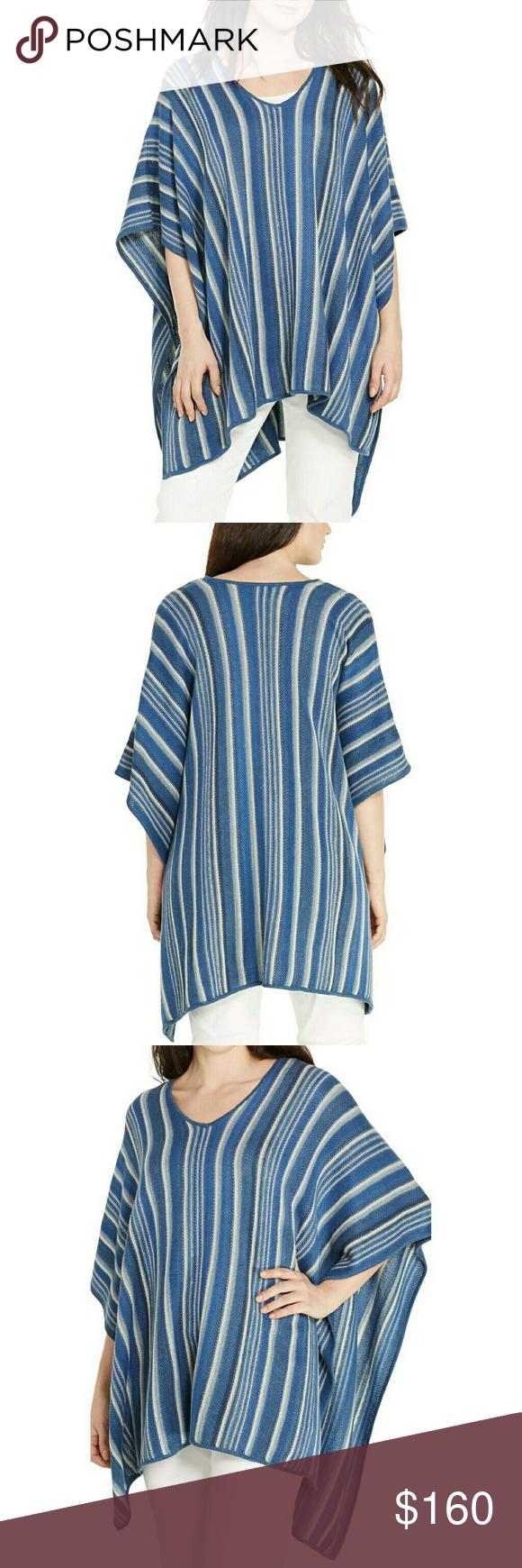 ralph lauren striped plus size linen&cotton poncho nwt | ralph