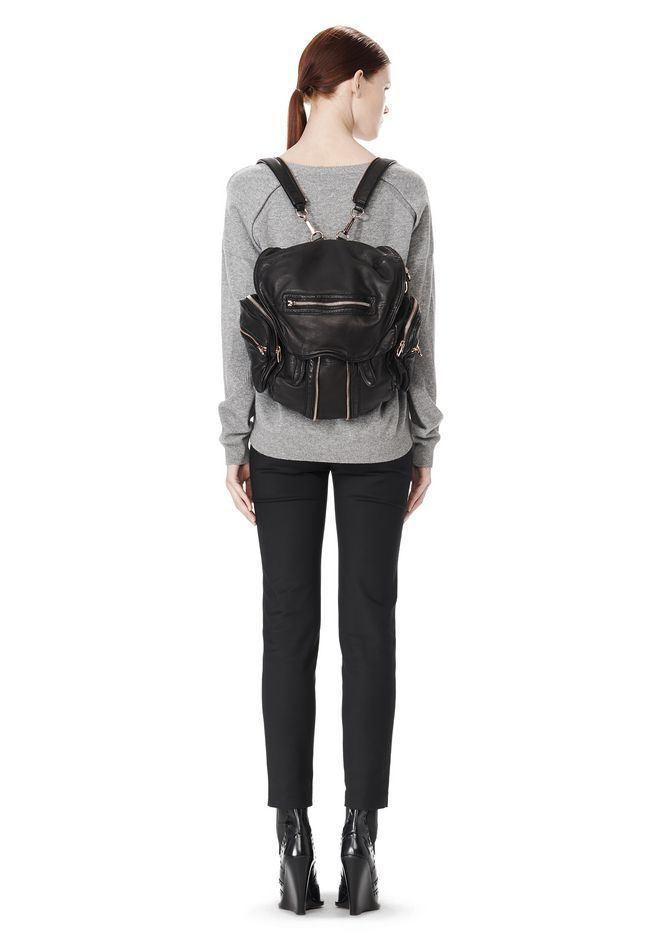 f660e284fe MINI MARTI BACKPACK IN WASHED BLACK WITH ROSE GOLD - Women Backpacks - Alexander  Wang Official Site