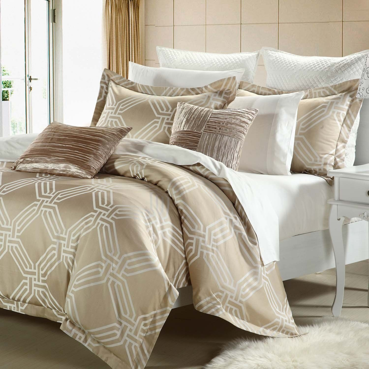Beige Cream Brown 10 Piece Queen Comforter Set With Sheets Striped Pattern Clay Comforter Sets Chic Home Bedding Sets