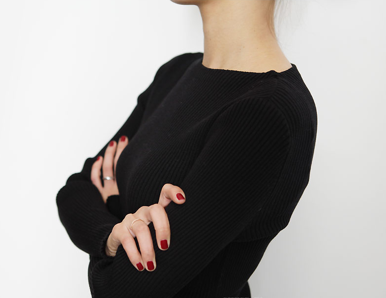 Black Long Sleeve V Neck Back Knit Jumper - All about style, fashion and beauty