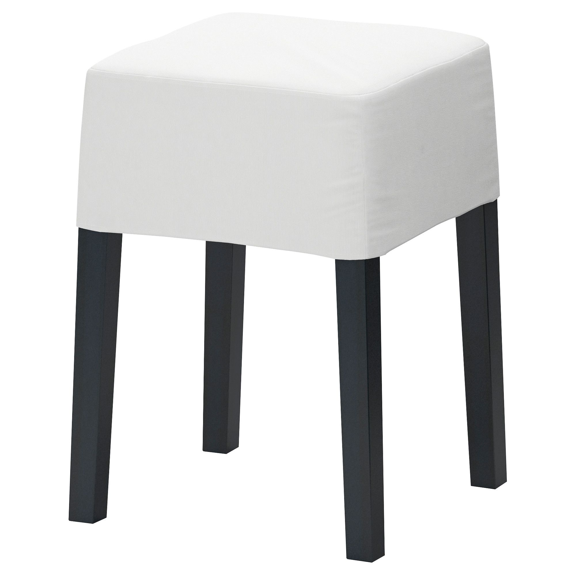 Appealing Black Wooden Stool Ikea With Beautiful White Fabric ...