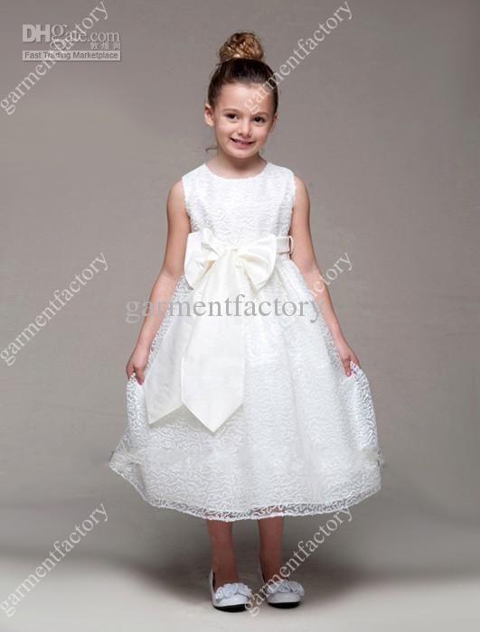 Designer Flower Girl Dress Jewel Neckline A-line Tea-length White ...