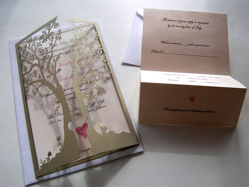 Love tree laser cut wedding invitation and reply card Laser