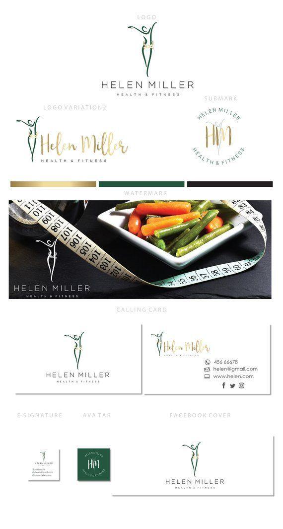 Branding kit logo design - Fitness logo - Health women silhouette  logo - Nutrition logo - Wellness...