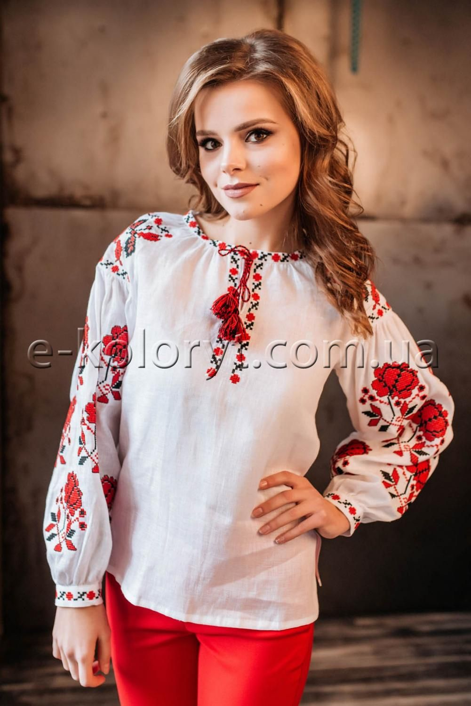 Жіноча вишиванка Троянди (біла) в інтернет-магазині вишитого одягу