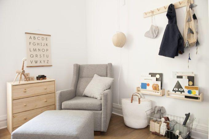A Beautifully Simple Chicago Apartment #NurseryGlider #BookShelves is part of Kids room shelves - A Beautifully Simple Chicago Apartment NurseryGlider BookShelves