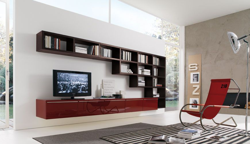 it is caused by the mindset of the modern people who think that everything must be simple yet functional red living room - Designer Wall Units For Living Room