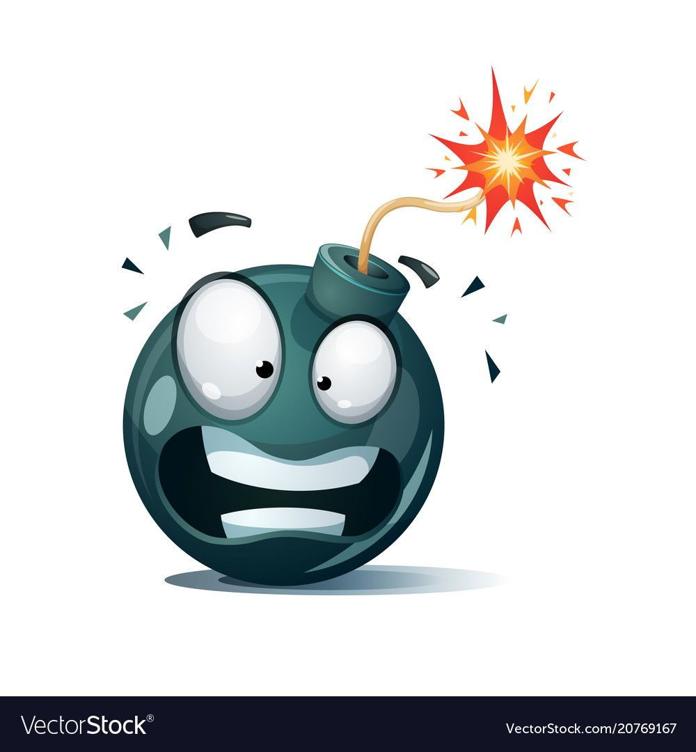 Cartoon Bomb Fuse Wick Spark Icon Disgust Smiley Vector Eps 10 Download A Free Preview Or High Quality Adobe Illustrator Ai Cartoon Art Sketches Comic Art