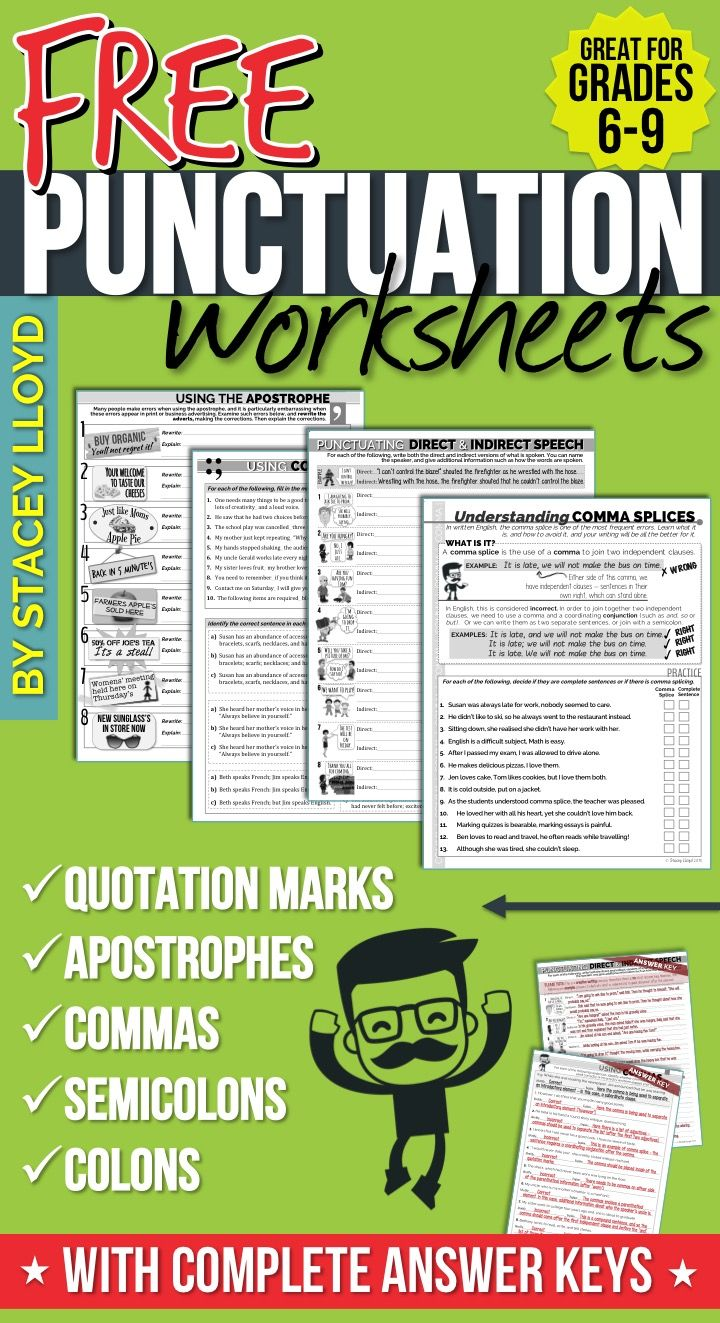 5 free punctuation worksheets grammar punctuation teaching punctuation teaching grammar. Black Bedroom Furniture Sets. Home Design Ideas