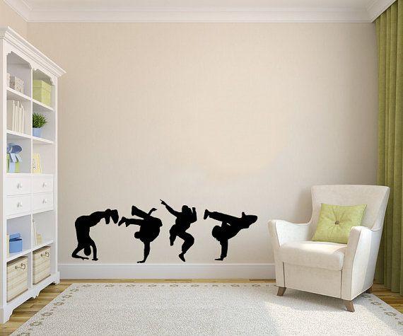 Guys Dancing Break Dance Silhouette Wall Vinyl Decal Stylish Sticker