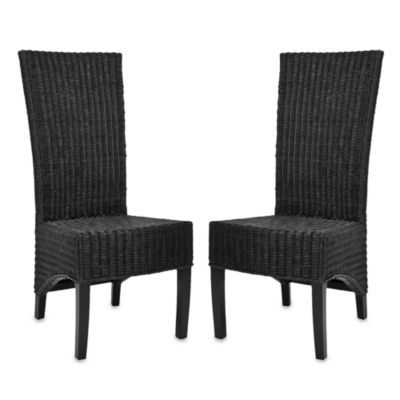 Safavieh Siesta Side Chairs In Black Wicker Set Of 2