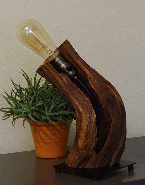 Lampa stolní, staré dřevo, edisonova žárovka
