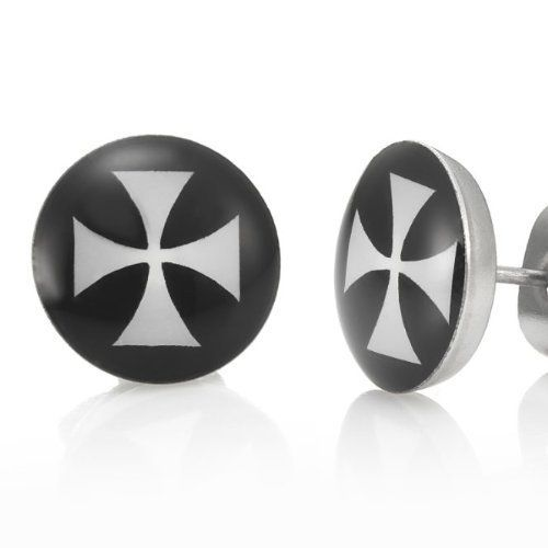 R&B Joyas - Pendientes de hombre, pendientes de botón cruz de malte, acero inoxidable, color plateado / negro: Amazon.es: Joyería