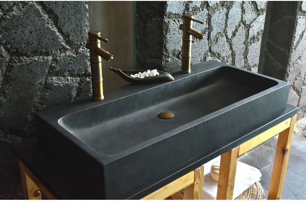 double vasque en pierre de basalte noire 100x46 looan dark - Double Vasque En Pierre