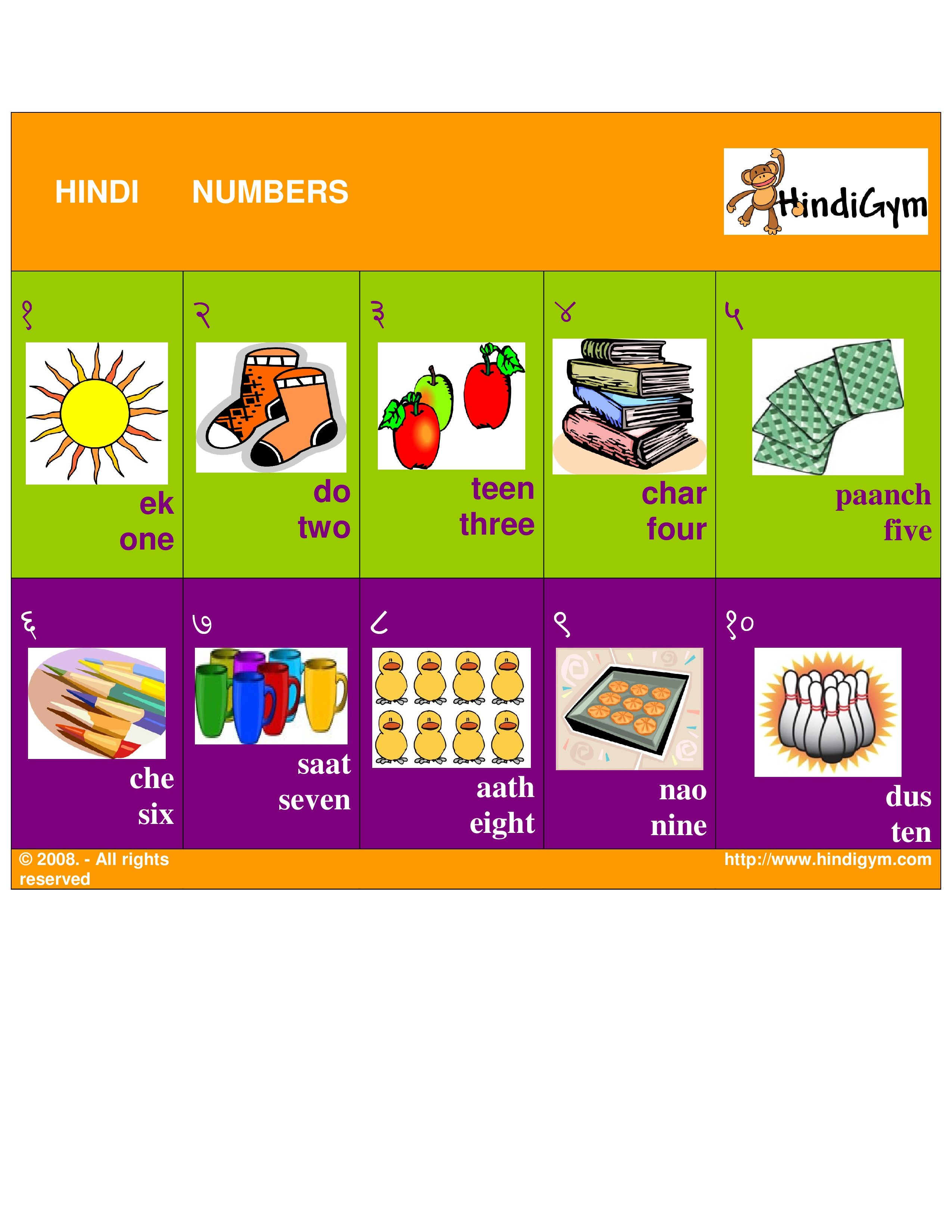 Hindi Number Chart Free Print At Home Ginti Ank