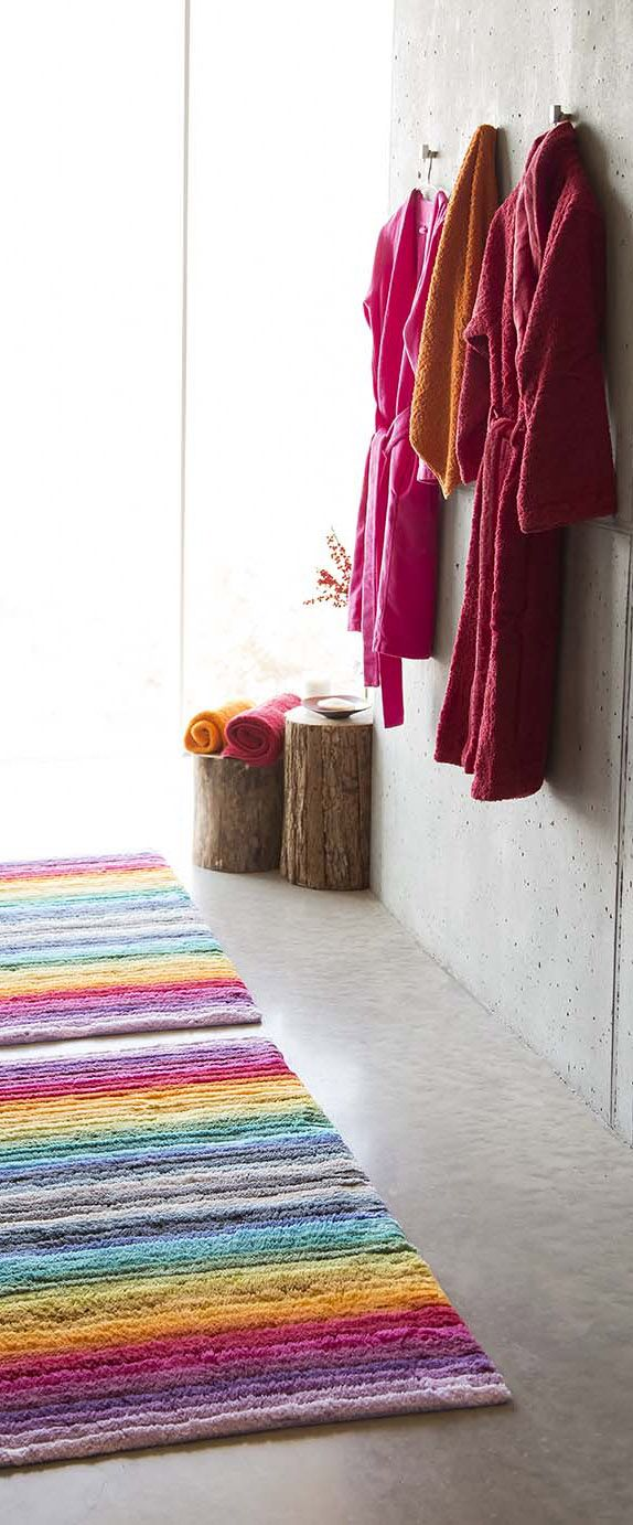 Larry rug with Super Pile and Swim bath robes by Abyss & Habidecor 2016 Collection #rainbow #rug #design #luxury #bath #ideas