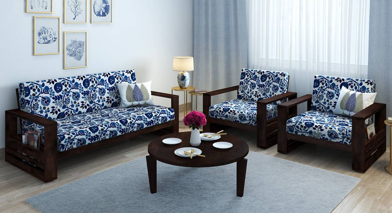 Parsons Wooden Sofa 2 1 1 Set Mahogany Finish Amara Blue Nectar By Urban Ladder Wooden Sofa Set Wooden Sofa Wooden Sofa Designs